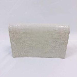 Saint Laurent Bags - SOLD Saint Laurent White Kate Croc Chain Wallet